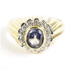 Estate Gold Plated Ring Size 10.5 Oval Amethyst