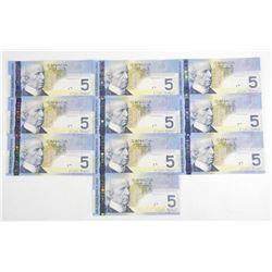 Lot (10) Bank of Canada 2006 5.00 'Hockey' Choice