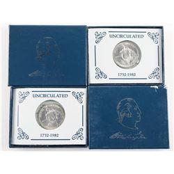Lot (2) Washington .900 Silver Half Dollar 1732-19
