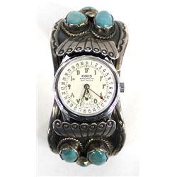Vintage Navajo Sterling Turquoise Watch Bracelet by Gibson Gene
