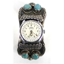 Vintage Navajo Sterling Turquoise Watch Bracelet by Gibson Gene