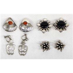4 Pairs of Sterling Clip-On & Screwback Earrings