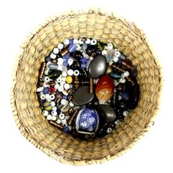 Collection of Beads in a Native American Basket