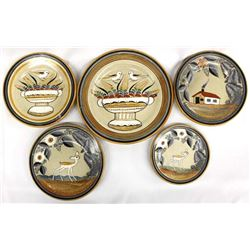 5 Vintage Mexican Tonala Pottery Plates by Jimon