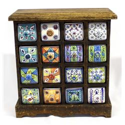 Rustic Wood and Pottery Drawer Spice Cabinet
