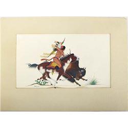 Vintage Native American Kiowa Print by S. Mopope