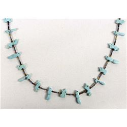 Navajo Carved Turquoise Fetish Necklace