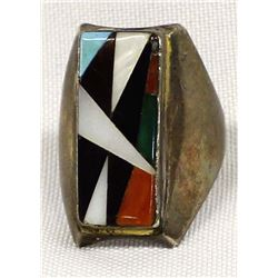 Zuni Old Pawn Sterling Inlay Ring, Size 9.5