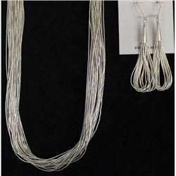 Navajo Liquid Sterling Silver Necklace & Earrings