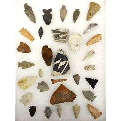 Collection of Native American Stone Arrowheads