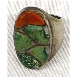 Navajo Old Pawn Sterling Turquoise Coral Ring, 9