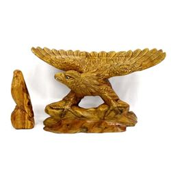 2 Hand Carved Wood Eagle Sculptures