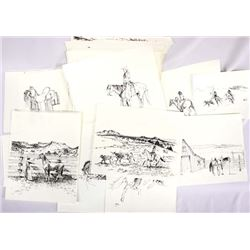 Collection of 1991 Sketchbook Drawings by Marquez