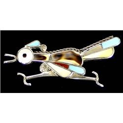 Zuni Sterling Inlay Roadrunner Pin Pendant