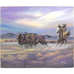 Original Kiowa Buffalo Hunt Painting by Jeff Yellowhair