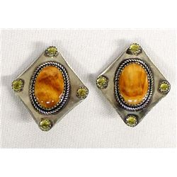 Navajo Sterling and Red Shell Clip-On Earrings