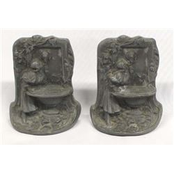 "Antique Art Nouveau ""Rebecca at the Water Well"" Cast Iron Bookends"