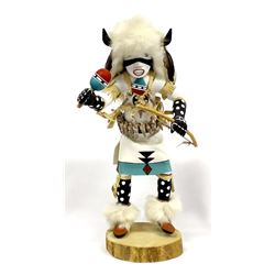 Navajo White Buffalo Dancer Kachina by Dina John