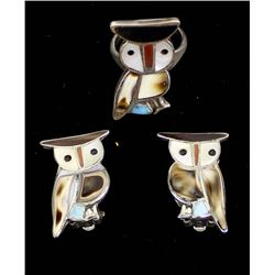 Zuni Sterling Inlay Owl Ring and Clip-On Earrings