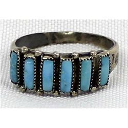 Zuni Old Pawn Sterling Turquoise Ring, Size 9.5