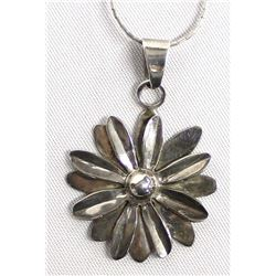 Taxco Sterling Flower Pendant Necklace