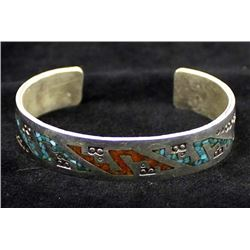 Navajo Sterling Chip Inlay Bracelet