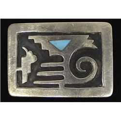 Navajo Sterling & Inlay Turquoise Belt Buckle