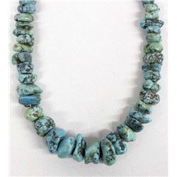 Navajo Sterling Bead & Turquoise Nugget Necklace