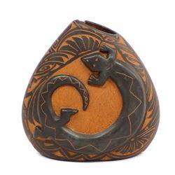 Laguna Pueblo Carved Pottery Vase by V. Garcia