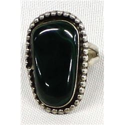 Navajo Old Pawn Sterling Malachite Ring, Size 9
