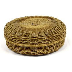 Native American Penobscot 3-Toned Lidded Basket