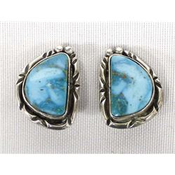 Navajo Sterling Turquoise Clip-On Earrings