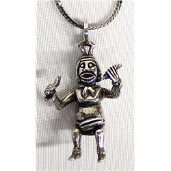 Navajo Sterling Silver Koshare Pendant Necklace