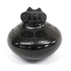 Mata Ortiz Blackware Pottery Owl by Paty Quezada