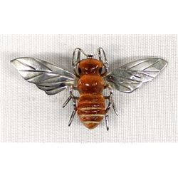 Sterling Silver and Amber Bee Pin