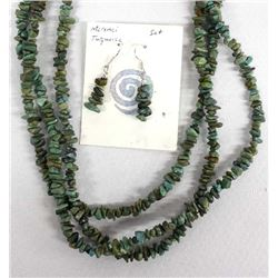 3 Strand Turquoise Nugget Necklace and Earrings