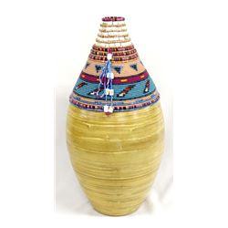 Hand Beaded Bamboo Vase by Kills Thunder