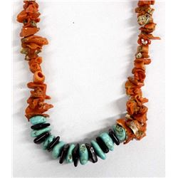 Navajo Turquoise and Red Branch Coral Necklace