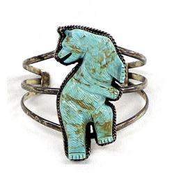 Navajo Sterling & Carved Turquoise Bear Bracelet
