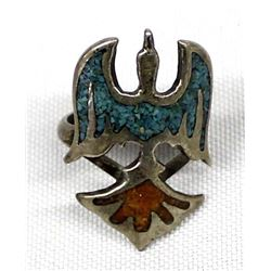 Navajo Sterling Chip Inlay Turqouise & Coral Ring