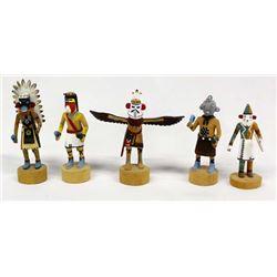 5 Native American Hopi Miniature Kachinas