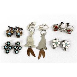 5 Pairs Native American Clip-On Earrings
