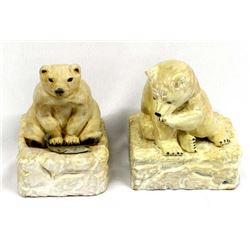 Pair of 1986 Carved Wood Bear Sculptures