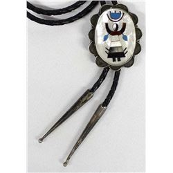 Native American Sterling Inlay Bolo Tie