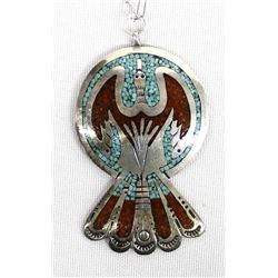 Navajo Sterling Chip Inlay Pendant Necklace
