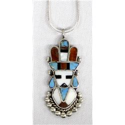 Zuni Sterling Inlay Pendant Necklace