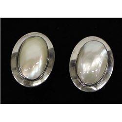 Navajo Sterling Mother of Pearl Clip-On Earrings