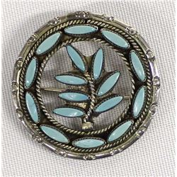 Zuni Sterling Turquoise Pin Pendant by Eustace