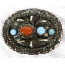 Navajo Old Pawn Sterling Turquoise Spider Pin