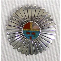 Navajo Sterling Inlay Pin Pendant by Timm Lewis